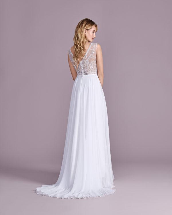 Brautkleid Mode De Pol Elizabeth Transparent Boho Schlicht V Ausschnitt Chiffon Empire Schulterträger E 4526t 02