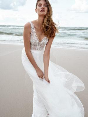 Brautkleid Mode De Pol Elizabeth Transparent Boho V Ausschnitt Tüll A Linie Schulterträger E 4585t 01