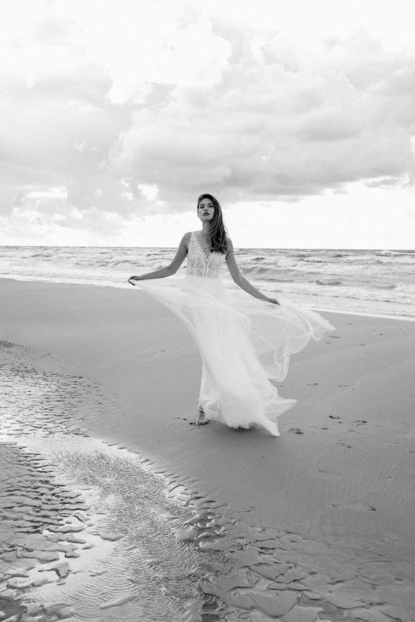 Brautkleid Mode De Pol Elizabeth Transparent Boho V Ausschnitt Tüll A Linie Schulterträger E 4585t 02