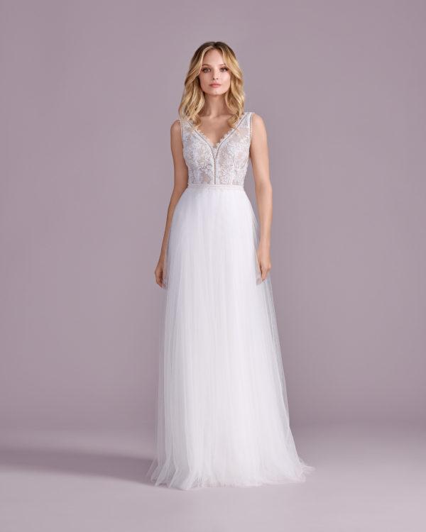 Brautkleid Mode De Pol Elizabeth Transparent Boho V Ausschnitt Tüll A Linie Schulterträger E 4585t 04