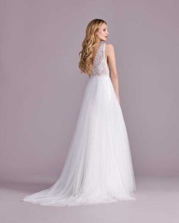 Brautkleid Mode De Pol Elizabeth Transparent Boho V Ausschnitt Tüll A Linie Schulterträger E 4585t 05