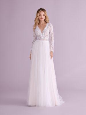 Brautkleid Mode De Pol Elizabeth Transparent Boho V Ausschnitt Tüll Spitze A Linie E 4550t 01