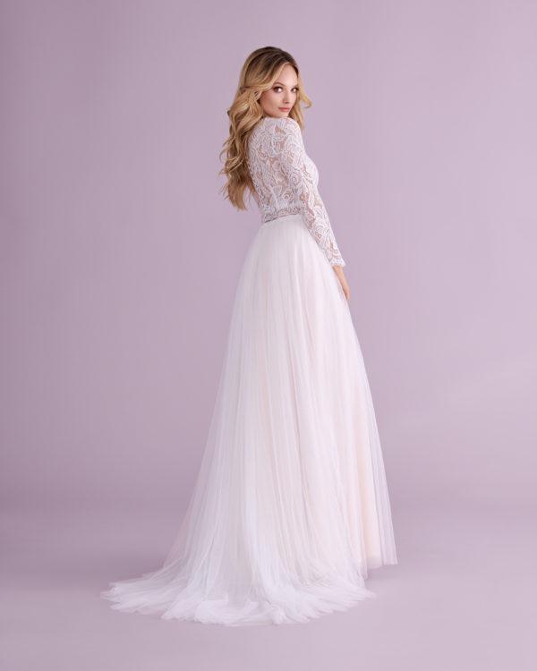 Brautkleid Mode De Pol Elizabeth Transparent Boho V Ausschnitt Tüll Spitze A Linie E 4550t 02
