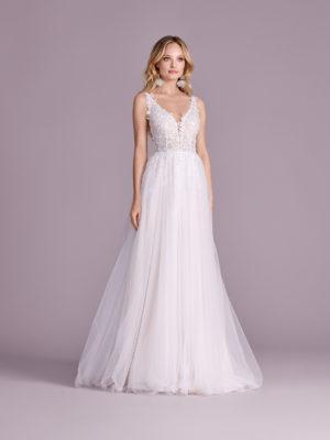 Brautkleid Mode De Pol Elizabeth Transparent Pailletten V Ausschnitt Tüll A Linie Schulterträger E 4597t 01