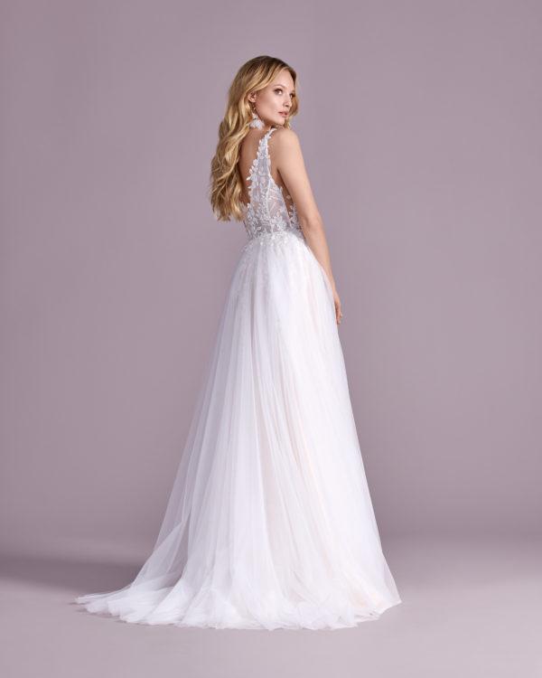 Brautkleid Mode De Pol Elizabeth Transparent Pailletten V Ausschnitt Tüll A Linie Schulterträger E 4597t 02
