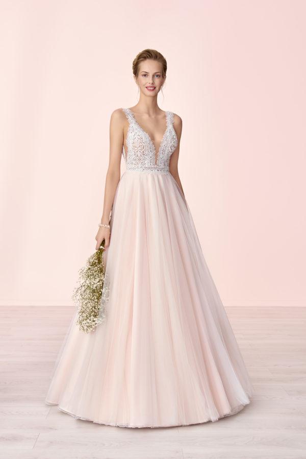 Brautkleid Mode De Pol Elizabeth Transparent Perlen V Ausschnitt Herzausschnitt Tüll Prinzessin A Linie Schulterträger E 4046t 01