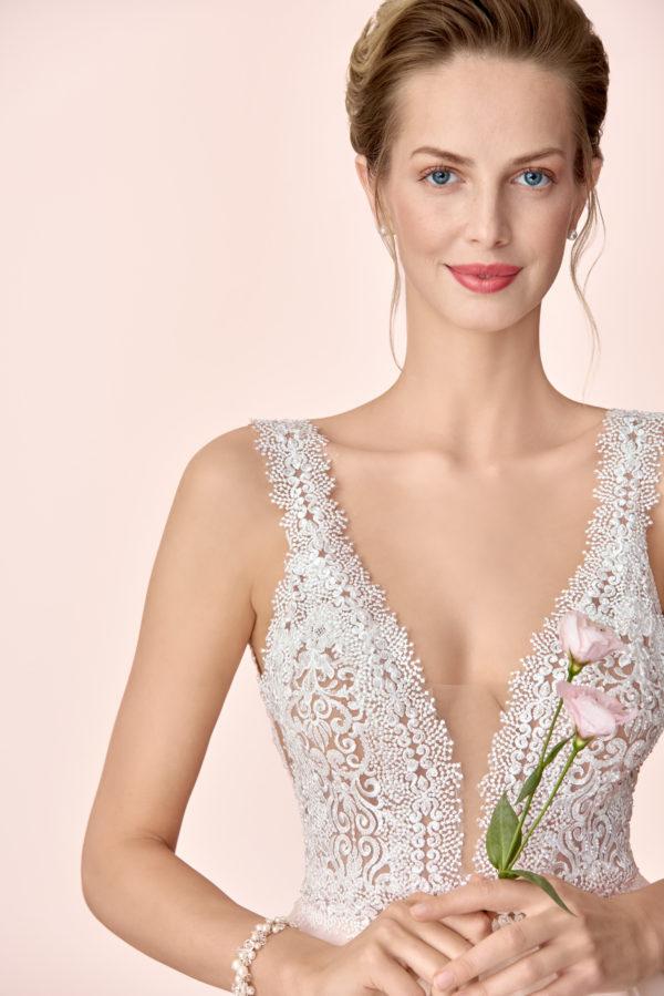 Brautkleid Mode De Pol Elizabeth Transparent Perlen V Ausschnitt Herzausschnitt Tüll Prinzessin A Linie Schulterträger E 4046t 03
