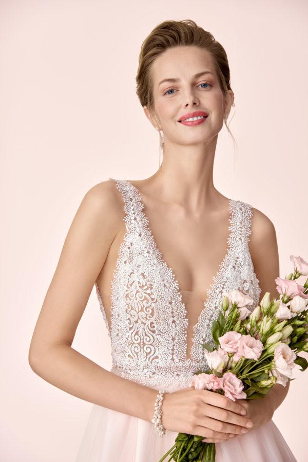 Brautkleid Mode De Pol Elizabeth Transparent Perlen V Ausschnitt Herzausschnitt Tüll Prinzessin A Linie Schulterträger E 4046t 04