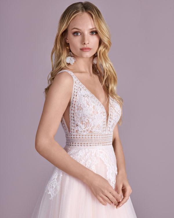 Brautkleid Mode De Pol Elizabeth Transparent Rocksaum Blumendeko V Ausschnitt Tüll Spitze A Linie Schulterträger E 4460t 03