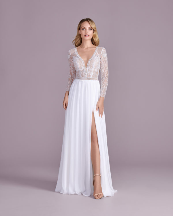 Brautkleid Mode De Pol Elizabeth Transparent Mit Schlitz V Ausschnitt Chiffon Empire E 4564t 01