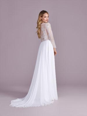 Brautkleid Mode De Pol Elizabeth Transparent Mit Schlitz V Ausschnitt Chiffon Empire E 4564t 02