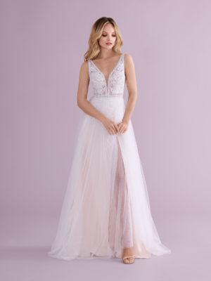 Brautkleid Mode De Pol Elizabeth Transparent Mit Schlitz V Ausschnitt Tüll A Linie Schulterträger E 4553t 01