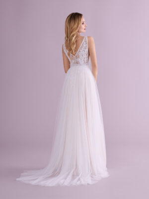 Brautkleid Mode De Pol Elizabeth Transparent Mit Schlitz V Ausschnitt Tüll A Linie Schulterträger E 4553t 02
