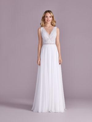 Brautkleid Mode De Pol Elizabeth Transparent Schlicht V Ausschnitt Chiffon A Linie Schulterträger E 4599t 01