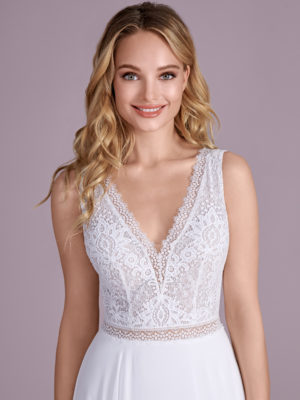 Brautkleid Mode De Pol Elizabeth Transparent Schlicht V Ausschnitt Chiffon A Linie Schulterträger E 4599t 02