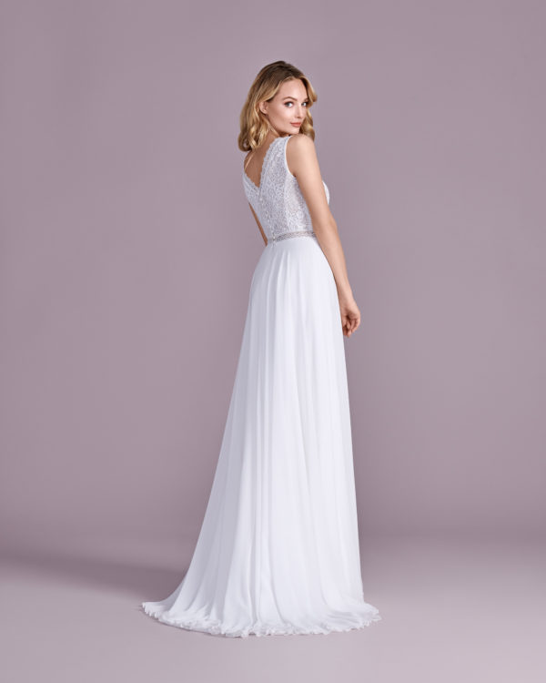 Brautkleid Mode De Pol Elizabeth Transparent Schlicht V Ausschnitt Chiffon A Linie Schulterträger E 4599t 03