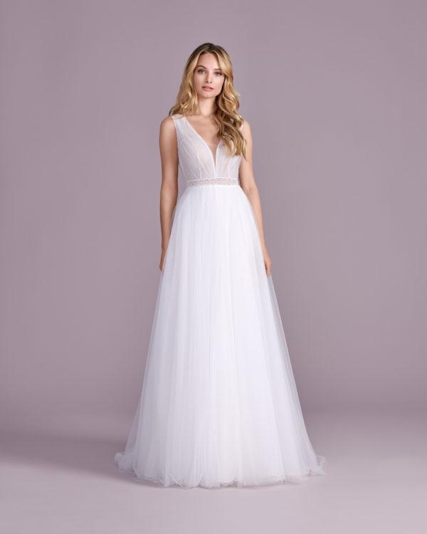 Brautkleid Mode De Pol Elizabeth Transparent Schlicht V Ausschnitt Tüll Boho Schulterträger E 4552t 01