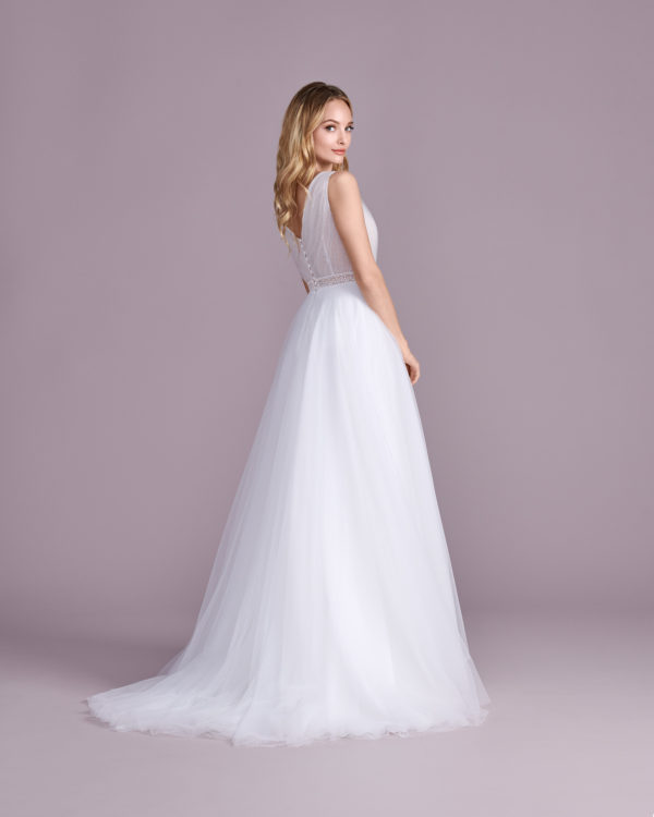 Brautkleid Mode De Pol Elizabeth Transparent Schlicht V Ausschnitt Tüll Boho Schulterträger E 4552t 02