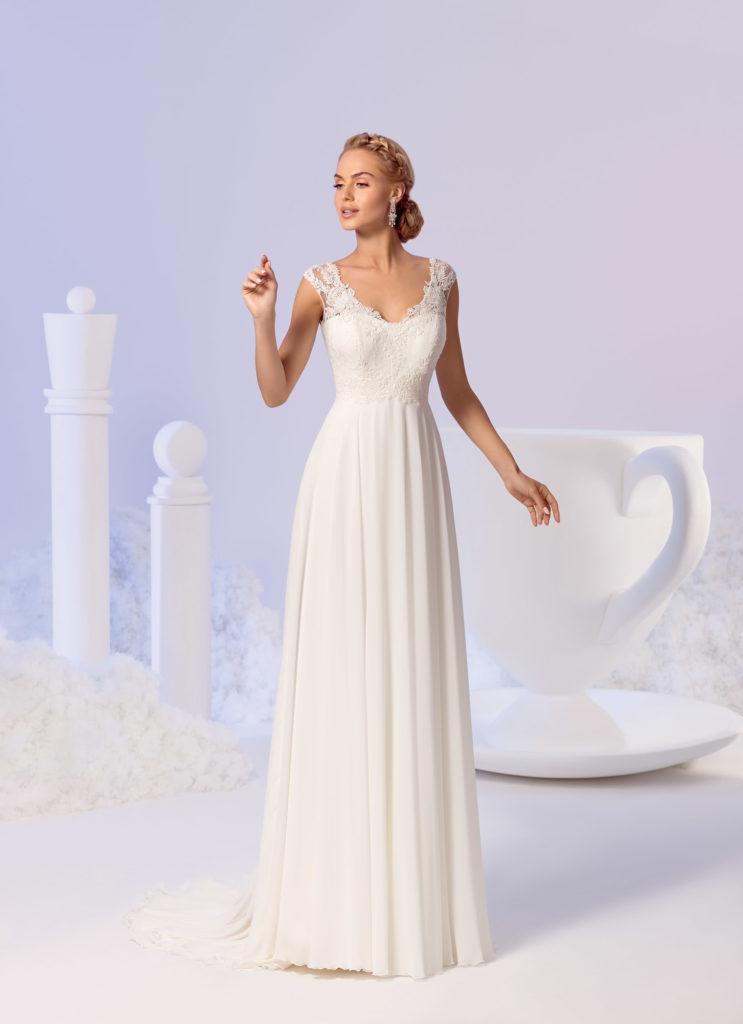 Brautkleid Mode De Pol Empire Für Schwangere Ärmellos Flügel Herzausschnitt Chiffon Spitze Schulterträger E 3800nt 01