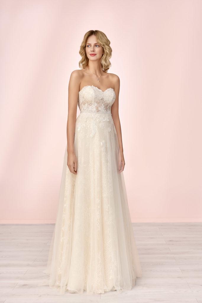 Brautkleid Mode De Pol Empire Für Schwangere Ärmellos Herzausschnitt Tüll Spitze Trägerlos E 4138t 01