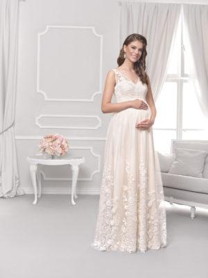 Brautkleid Mode De Pol Für Schwangere Ärmellos Herzausschnitt Spitze Tüll Schulterträger Nc 05 01