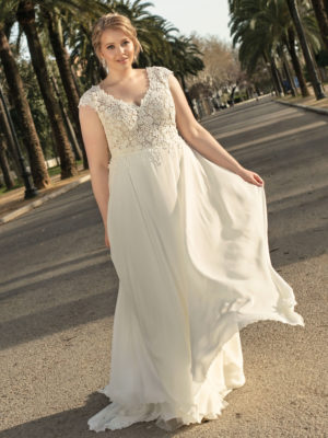 Brautkleid Mode De Pol Lovely A Linie Empire Chiffon Tuell Herzausschnitt Transparent Curvy Blumendeko Pailletten Lo 236t 01.jpg