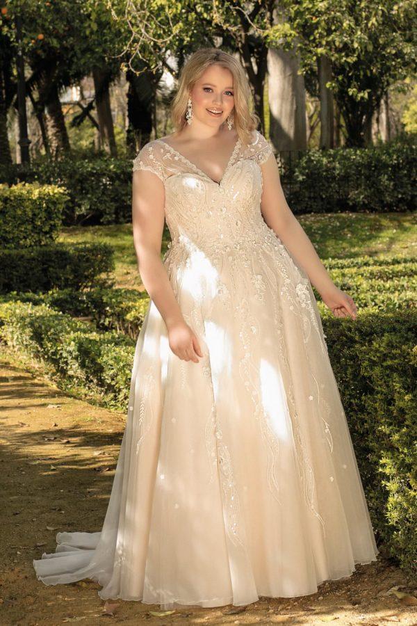 Brautkleid Mode De Pol Lovely A Linie Prinzessin Organza Tuell Herzausschnitt Schnuerung Curvy Blumendeko 3d Optik Pailletten Perlen Lo 193t 01.jpg