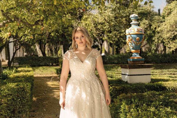 Brautkleid Mode De Pol Lovely A Linie Prinzessin Organza Tuell Herzausschnitt Schnuerung Curvy Blumendeko 3d Optik Pailletten Perlen Lo 193t 03.jpg