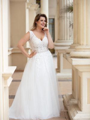 Brautkleid Mode De Pol Lovely Curvy Transparent Allover Spitze Blumendeko Herzausschnitt Tüll A Linie Prinzessin Schulterträger Lo 169t 01 1.jpg