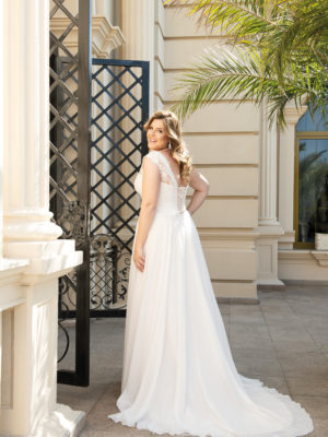 Brautkleid Mode De Pol Lovely Schnürung Curvy Herzausschnitt Chiffon A Linie Schulterträger Lo 137t 02 1.jpg