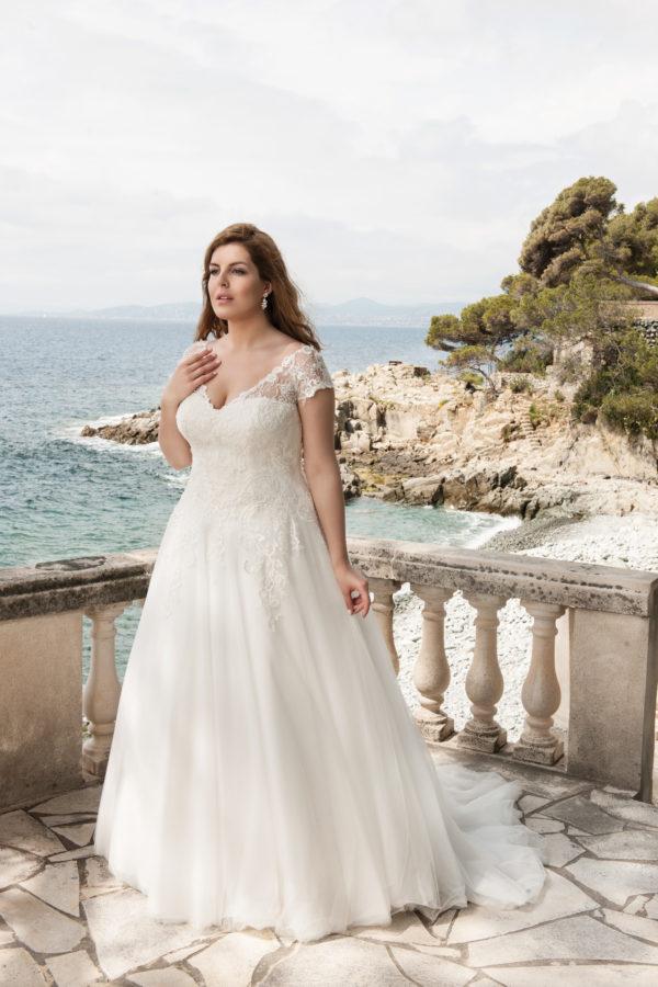 Brautkleid Mode De Pol Lovely Schnürung Curvy Herzausschnitt Tüll Prinzessin A Linie Schulterträger Lo 39t 03 1.jpg