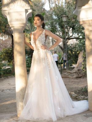 Brautkleid Mode De Pol Theone A Linie Tuell V Ausschnitt Glitzertuell Transparent Blumendeko 3d Optik To 1118t 01.jpg