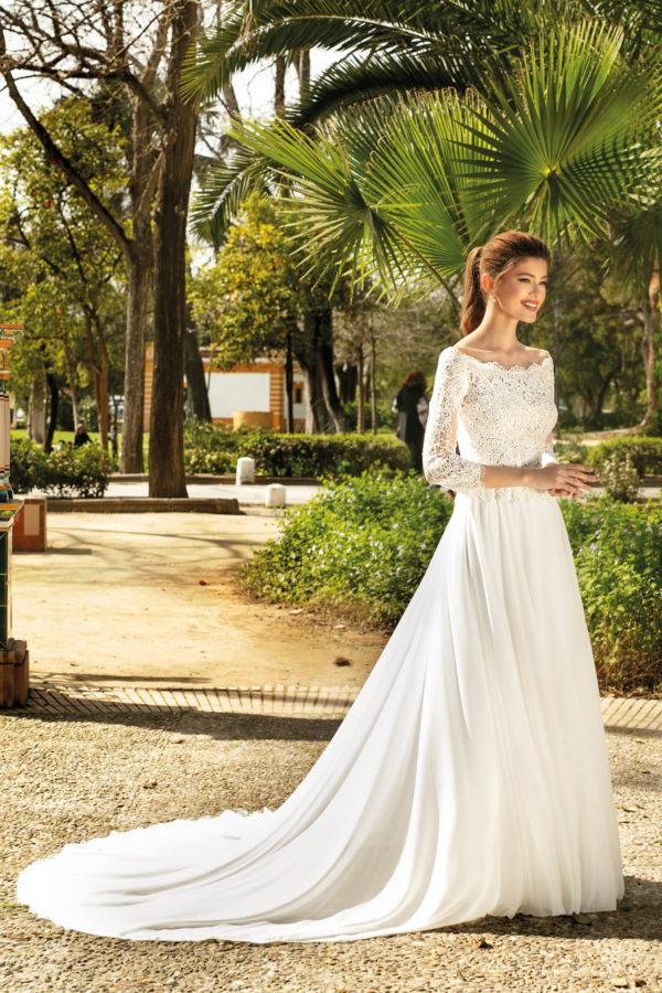 Brautkleid Mode De Pol Theone A Linie Carmen Chiffon Tuell Illusionsdekollete Transparent Schlicht To 1105t 01.jpg