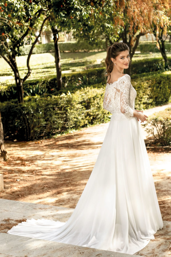 Brautkleid Mode De Pol Theone A Linie Carmen Chiffon Tuell Illusionsdekollete Transparent Schlicht To 1105t 02.jpg