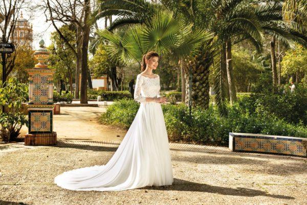 Brautkleid Mode De Pol Theone A Linie Carmen Chiffon Tuell Illusionsdekollete Transparent Schlicht To 1105t 03.jpg