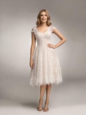Brautkleid Mode De Pol Theone Allover Spitze Herzausschnitt Spitze Kurz Schulterträger To 938 01