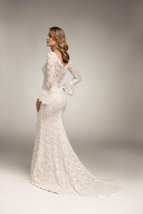 Brautkleid Mode De Pol Theone Allover Spitze Marabufedern Herzausschnitt Spitze Meerjungfrau Carmen To 1020t 02