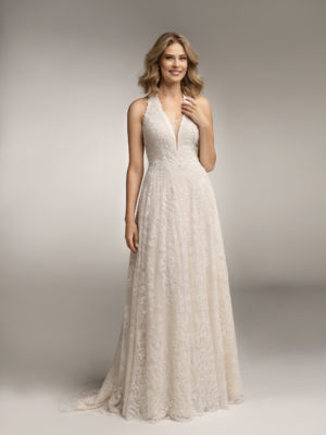 Brautkleid Mode De Pol Theone Allover Spitze V Ausschnitt Spitze A Linie Schulterträger To 931t 01