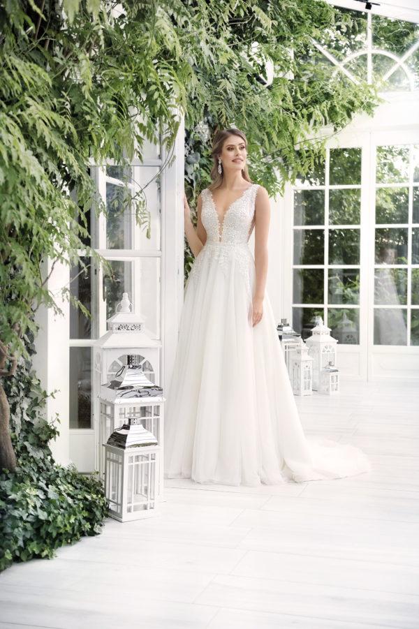 Brautkleid Mode De Pol Theone Allover Spitze Abnehmbare Schleppe V Ausschnitt Spitze Etui Zweiteiler A Linie Schulterträger To 909 Sc8t 01