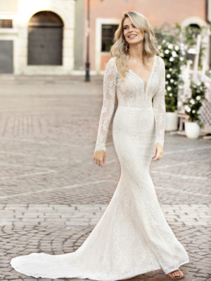 Brautkleid Mode De Pol Theone Allover Spitze Transparent V Ausschnitt Spitze Meerjungfrau Schulterträger To 1037t 01