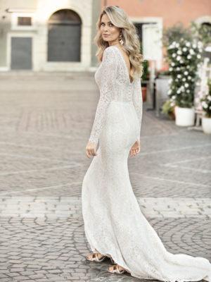 Brautkleid Mode De Pol Theone Allover Spitze Transparent V Ausschnitt Spitze Meerjungfrau Schulterträger To 1037t 02