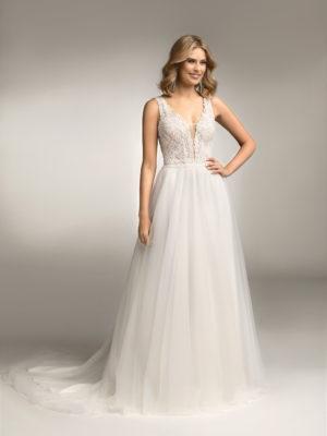 Brautkleid Mode De Pol Theone Boho Pailletten Transparent V Ausschnitt Tüll A Linie Schulterträger To 1053t 01