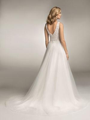 Brautkleid Mode De Pol Theone Boho Pailletten Transparent V Ausschnitt Tüll A Linie Schulterträger To 1053t 02