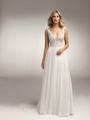 Brautkleid Mode De Pol Theone Boho Transparent V Ausschnitt Chiffon A Linie Schulterträger To 1062t 01