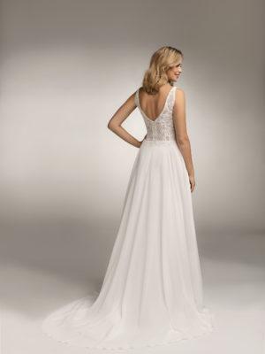Brautkleid Mode De Pol Theone Boho Transparent V Ausschnitt Chiffon A Linie Schulterträger To 1062t 02