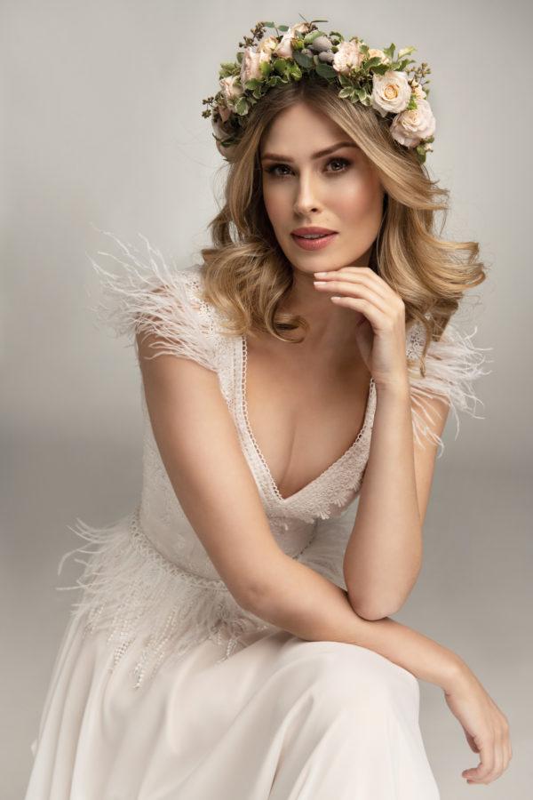 Brautkleid Mode De Pol Theone Marabufedern Boho Schlicht V Ausschnitt Chiffon A Linie Schulterträger To 967t 03