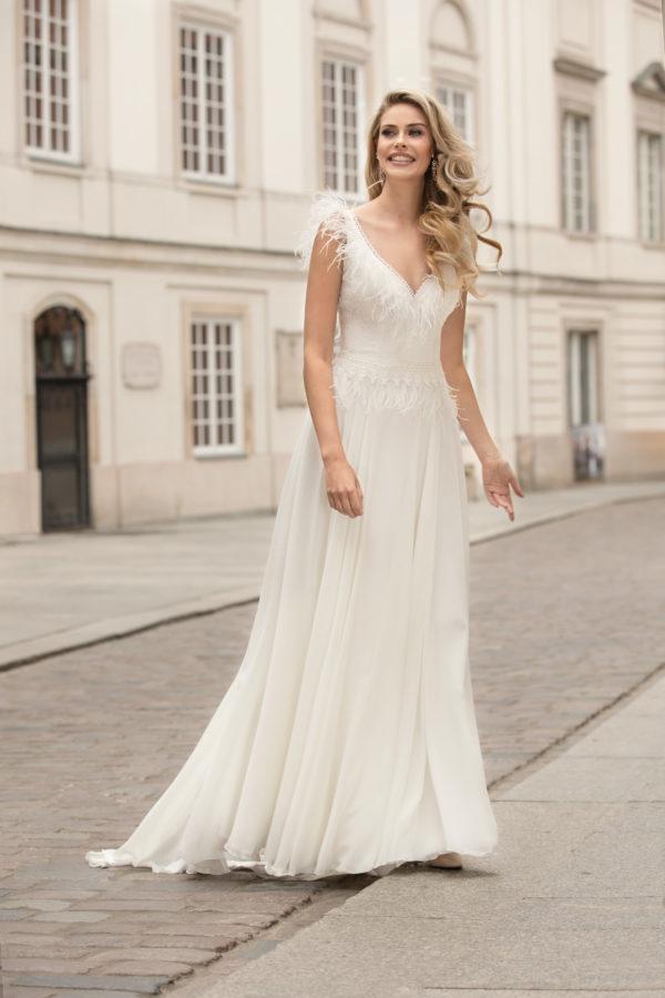 Brautkleid Mode De Pol Theone Marabufedern Boho V Ausschnitt Chiffon A Linie Schulterträger To 1007t 01