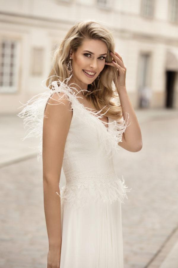 Brautkleid Mode De Pol Theone Marabufedern Boho V Ausschnitt Chiffon A Linie Schulterträger To 1007t 03