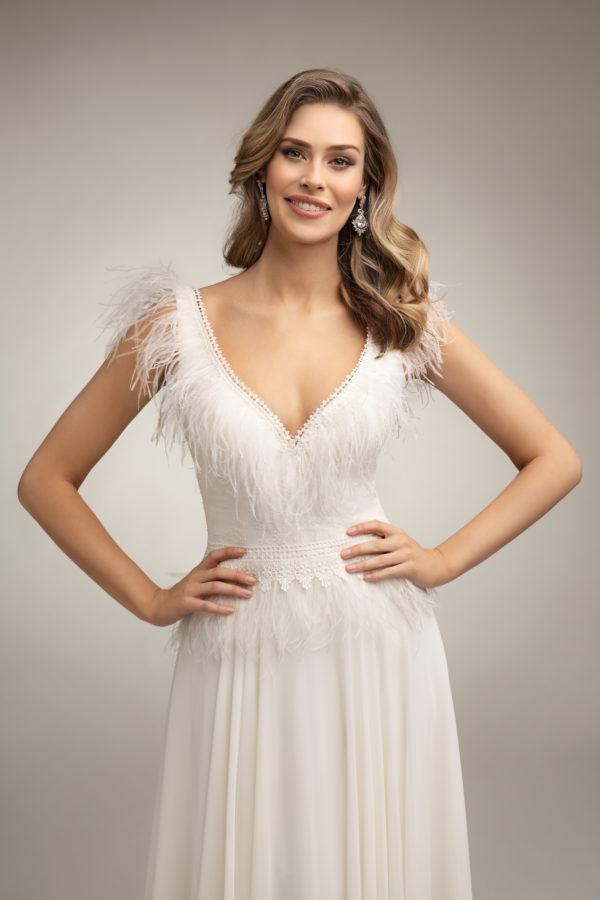 Brautkleid Mode De Pol Theone Marabufedern Boho V Ausschnitt Chiffon A Linie Schulterträger To 1007t 05