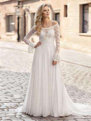 Brautkleid Mode De Pol Theone Marabufedern Herzausschnitt Chiffon A Linie Carmen To 1044t 01